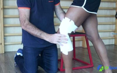 Comment réaliser un strapping pour une entorse externe du genou ?